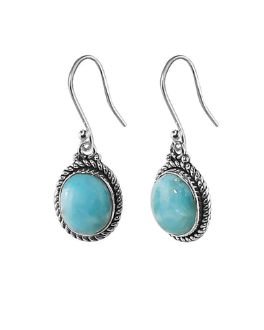Oval Natural Larimar Earrings in Sterling Silver