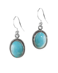 3.00 Ct Oval Natural Larimar Earrings in Sterling Silver