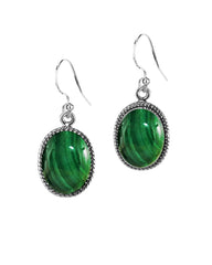 Oval Natural Malachite Earrings in Sterling Silver