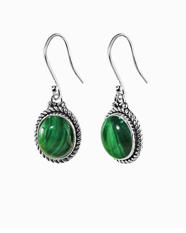 3.00 Ct Oval Natural Malachite Earrings in Sterling Silver