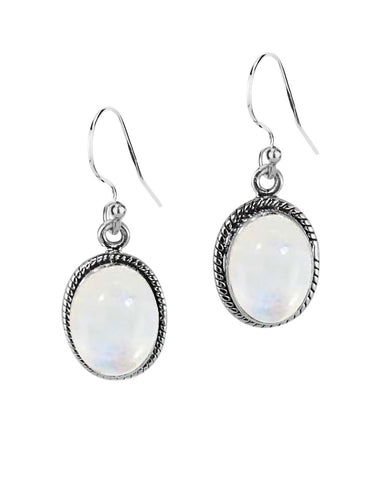 Oval Natural moonstone Sterling Silver Statement Earrings