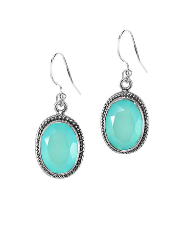Oval Natural Peruvian Opal Earrings in Sterling Silver