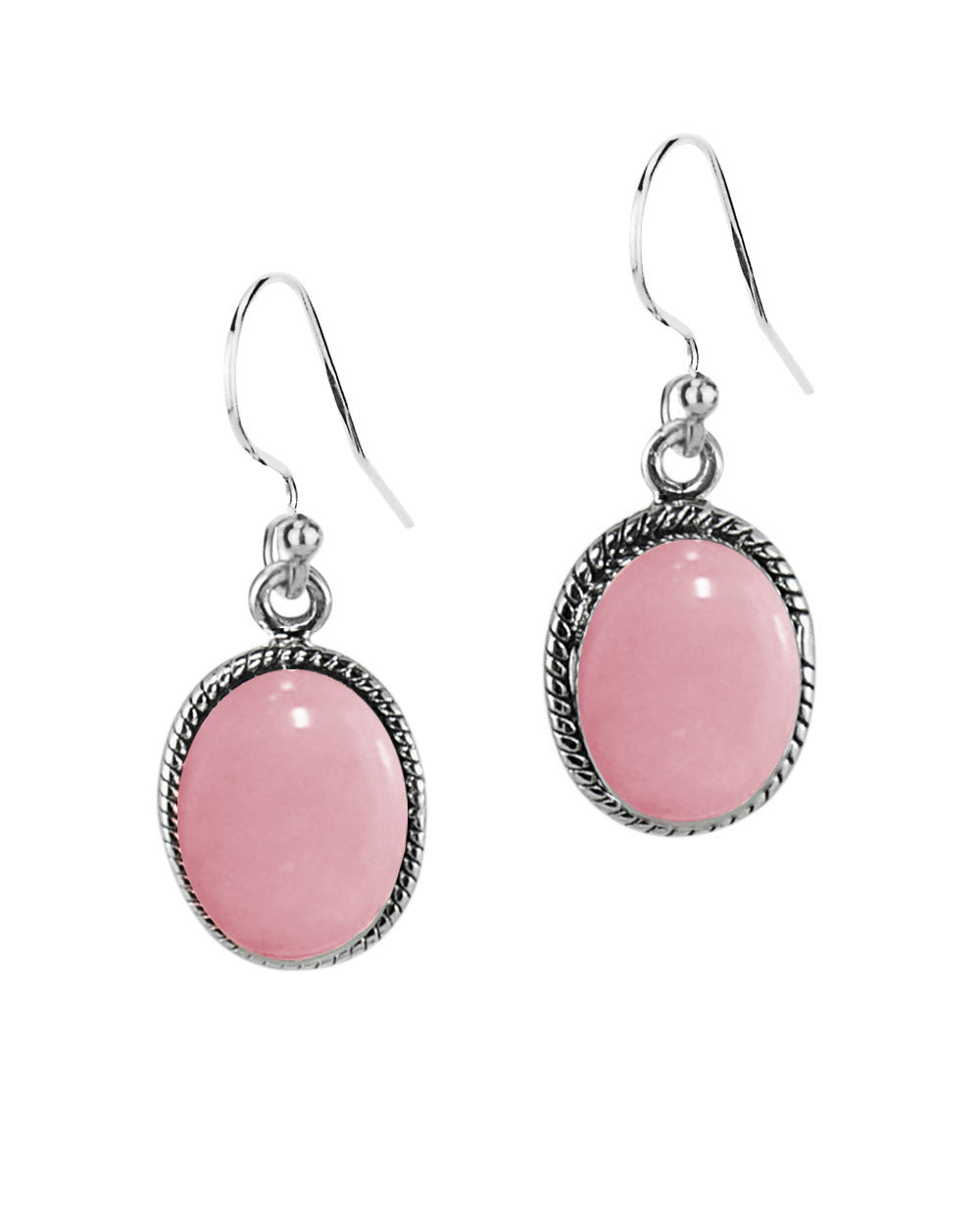 Oval Natural Pink Opal Sterling Silver Statement Earrings