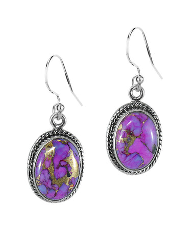 Oval Natural Purple Copper Turquoise Sterling Silver Statement Earrings