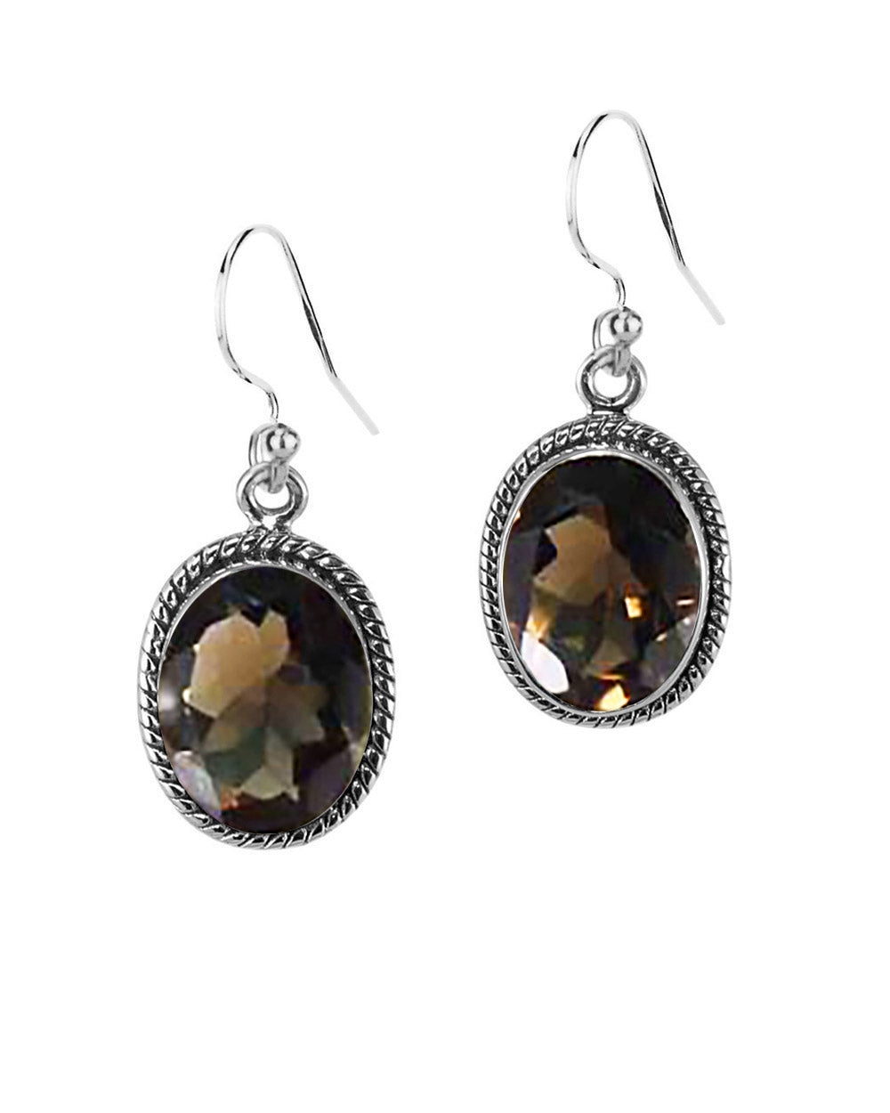 Oval Natural Smoky Quartz Sterling Silver Statement Earrings