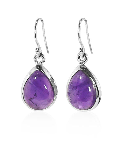 Pear Cut Natural Amethyst Earrings in Sterling Silver