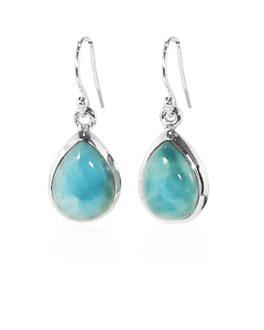 3.00 Ct Pear Cut Natural Larimar Earrings in Sterling Silver