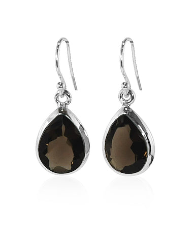 Pear Cut Natural Smoky Quartz Earrings in Sterling Silver