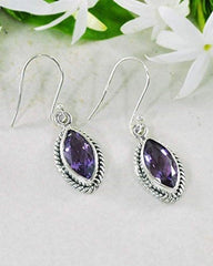 Ananda Sterling Silver Earrings - Amethyst
