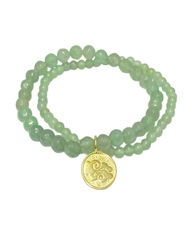 Air Elements Bracelet Set with Aventurine in Gold Vermeil