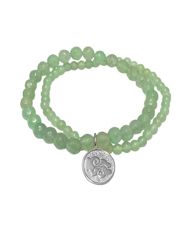 Air Elements Bracelet Set with Aventurine in Sterling Silver