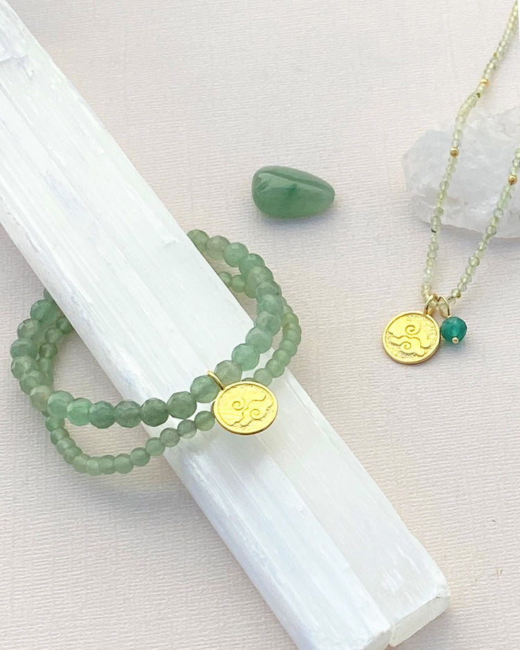 Air Elements Necklace with Aventurine in Gold Vermeil