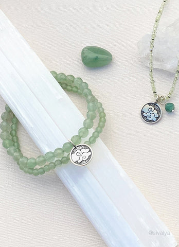 Air Elements Necklace with Aventurine in Sterling Silver