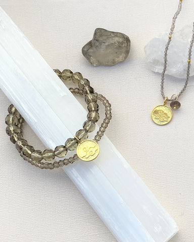 Air Elements Necklace with Smoky Quartz in Gold Vermeil