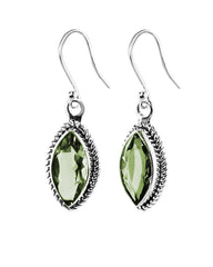 Ananda Sterling Silver Earrings - Green Amethyst Parsiolite