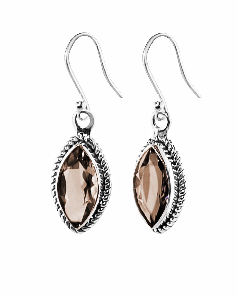 Ananda Sterling Silver Earrings - Smoky Quartz