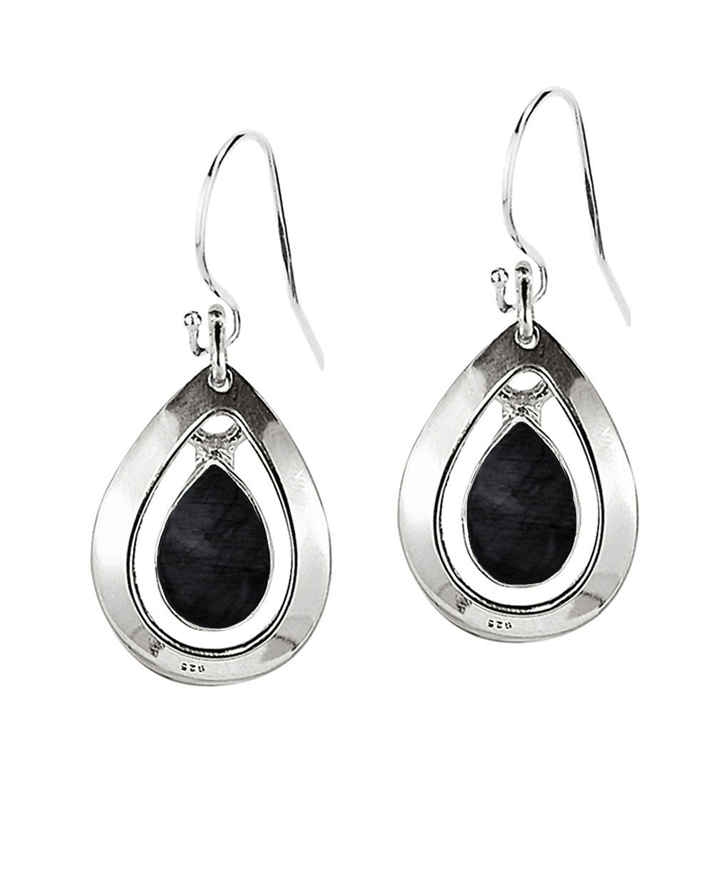 Aura Black Onyx 925 Sterling Silver Dangle Earrings