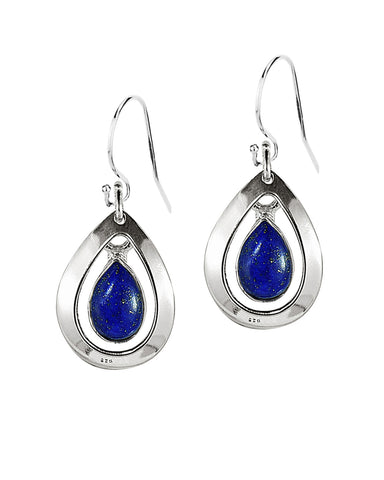 Aura Lapis Lazuli 925 Sterling Silver Dangle Earrings