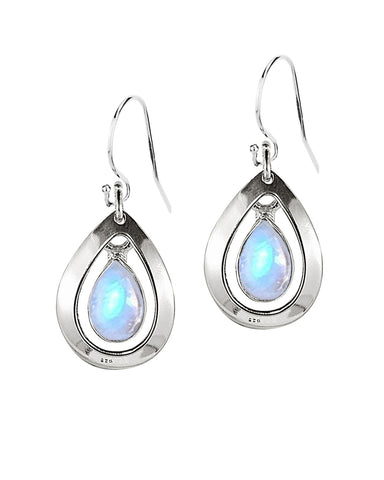 Aura Moonstone 925 Sterling Silver Dangle Earrings