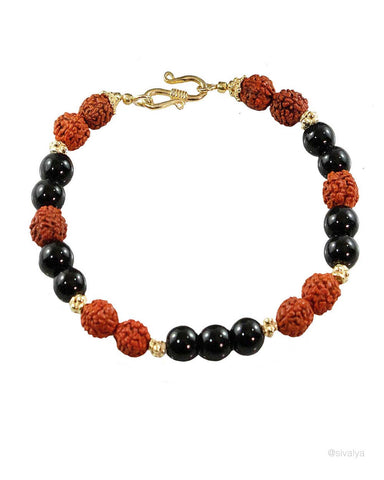 Bala Rudraksha and Black Onyx Wrist Mala Gold