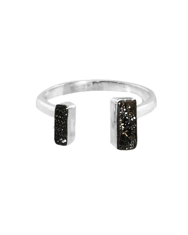 Black Druzy Pinky Ring in Sterling Silver - Adjustable