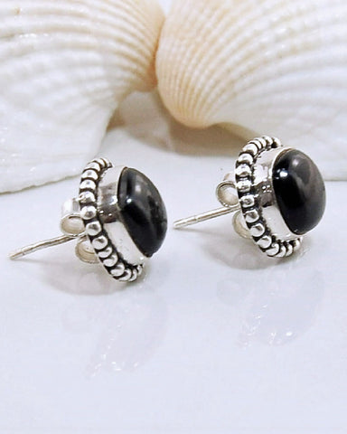 Black Onyx Stud Earrings in 925 Sterling Silver