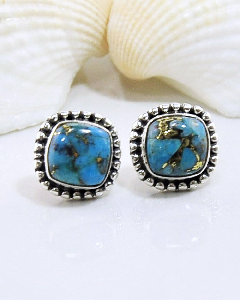 Blue Copper Turquoise Stud Earrings in 925 Sterling Silver