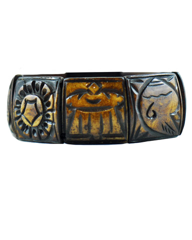 Buddhist 8 Auspicious Symbols Yak Bone Bracelet for Men Brown