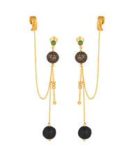 Cascades Black Onyx Ear Cuff Dangle Earrings
