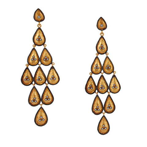 Layered Drops Chandelier Earrings in Gold Vermeil