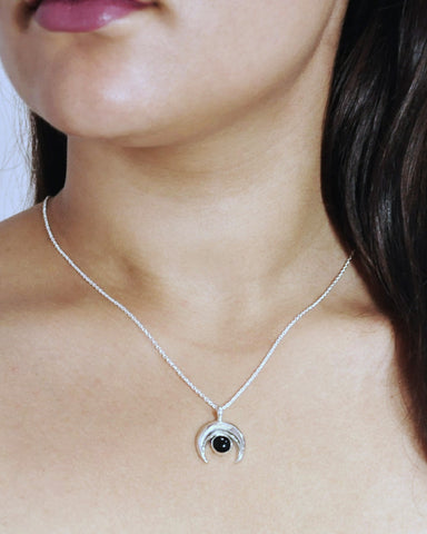 Crescent Moon Sterling Silver Necklace - Black Onyx