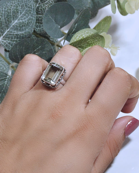 Natural Green Amethyst Engagement Ring-Emerald Cut Prasiolite Ring-Natural Amethyst Birthstone Solitaire Ring-925 Solid Sterling Silver Ring