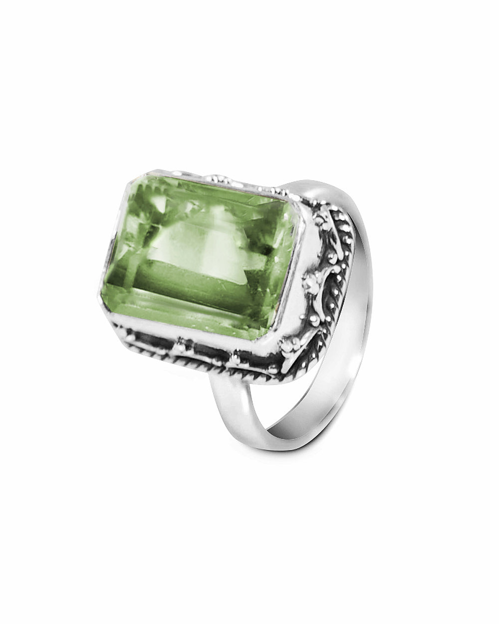 Cushion Cut Natural Green Amethyst | Prasiolite Ring