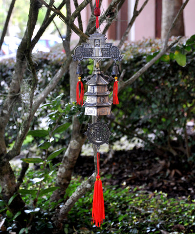Buddha Pagoda Wall Decor With Red Tassel - Feng Shui Wind Chime