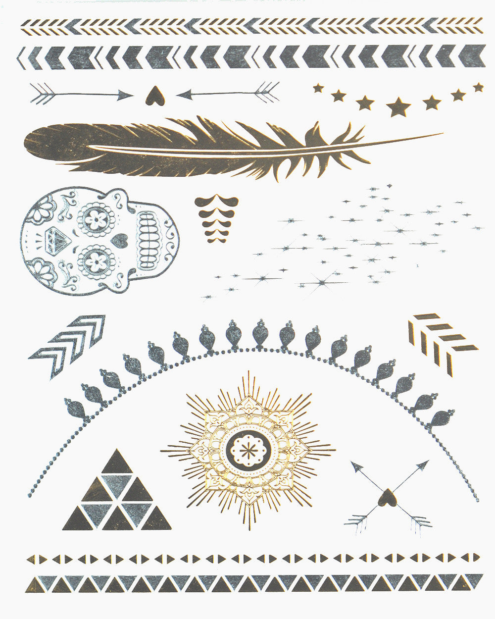 Wild Child Pack Gold Metallic Tattoo - Silver Trendz