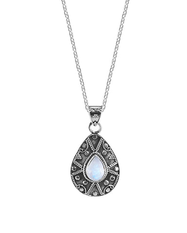 Desert Muse Sterling Silver Pendant Necklace - Moonstone