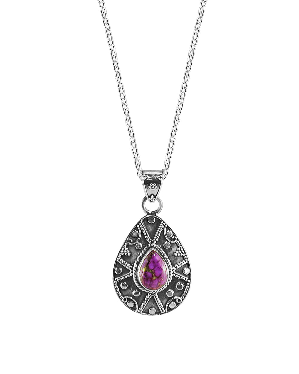 Desert Muse Sterling Silver Pendant Necklace - Purple Copper Turquoise