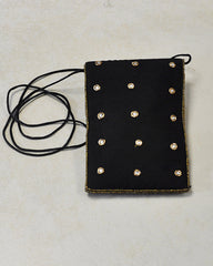 Designer Sequins and Crystals Embroidery Silk Crossbody Bag - Black