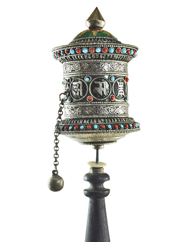 Dharma Om Mani Padme Hum Mantra Buddhist Prayer Wheel - Collector Item