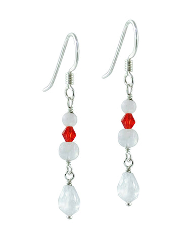 Divine Energy Red Crystals and Moonstone Sterling Silver Earrings