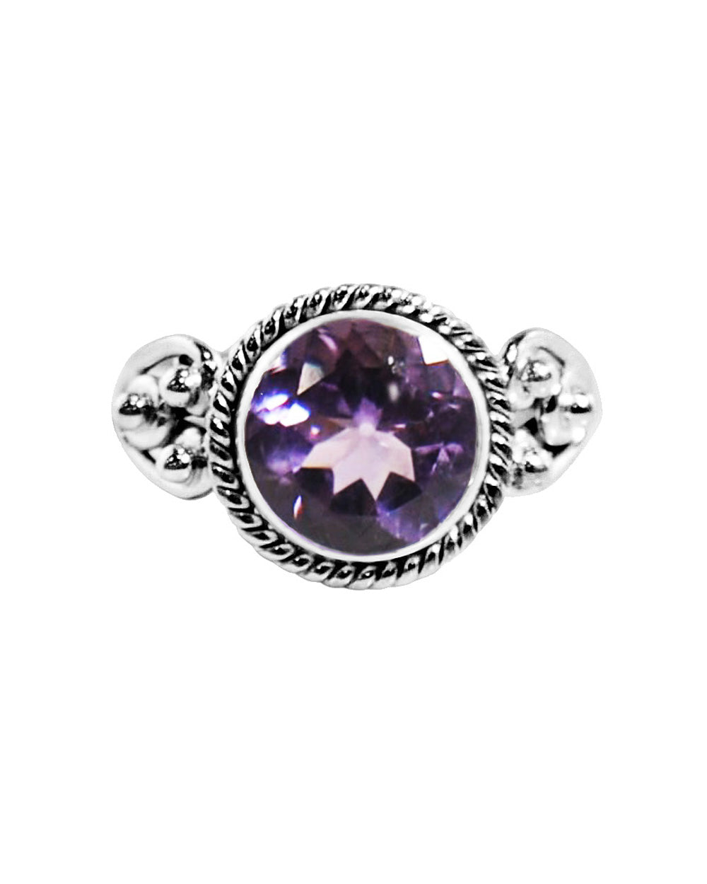 Divya Round Cushion Cut Amethyst 925 Sterling Silver Ring