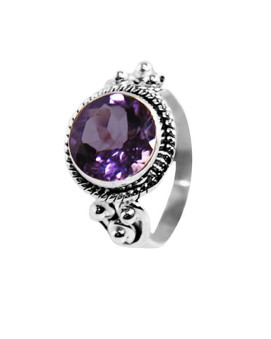Divya 10mm Cushion Cut Amethyst 925 Sterling Silver Ring