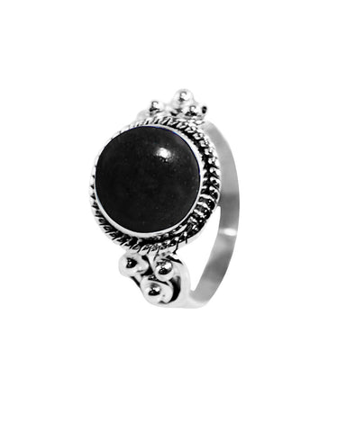 Divya Round Black Onyx 925 Sterling Silver Ring