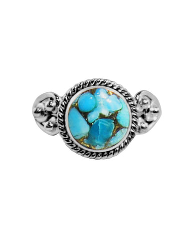 Divya Round Blue Copper Turquoise 925 Sterling Silver Ring