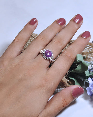 Divya Round Purple Copper Turquoise 925 Sterling Silver Ring