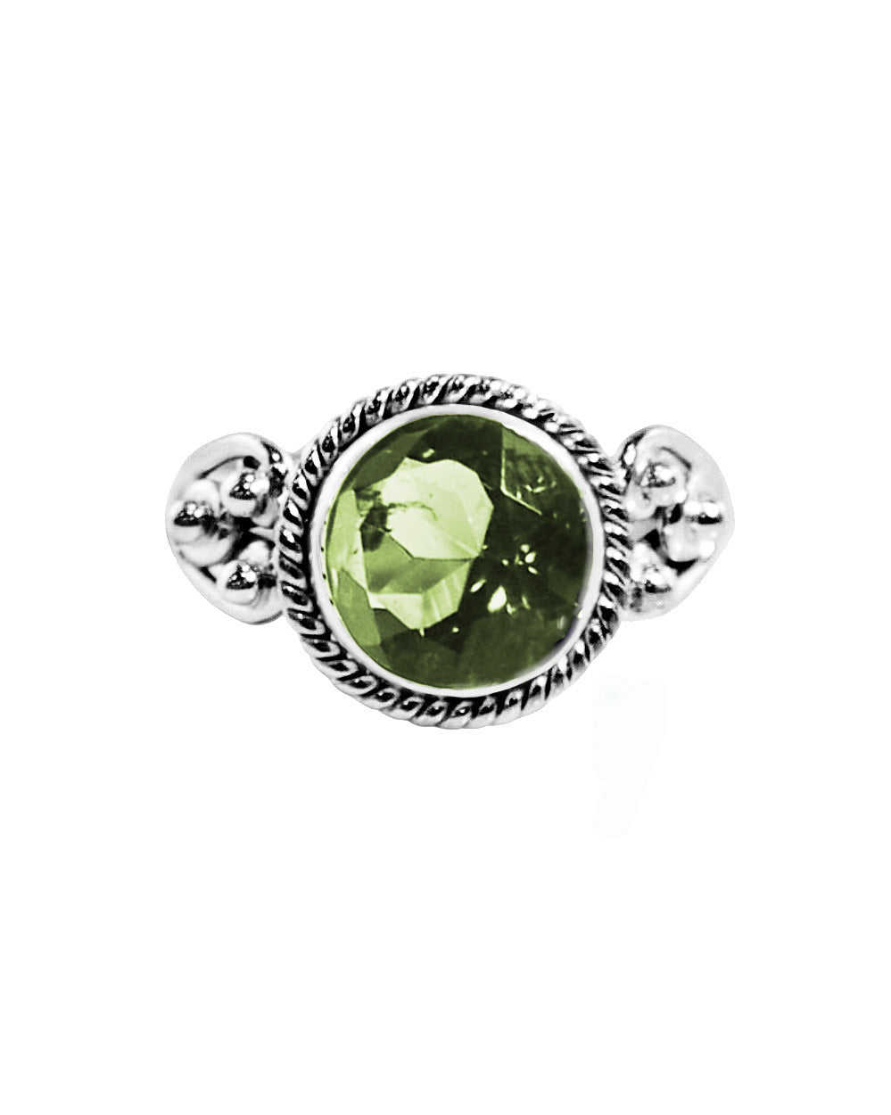 Divya Round Cushion Cut Green Amethyst 925 Sterling Silver Ring
