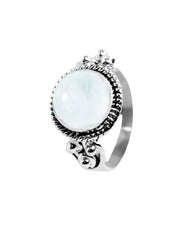 Divya 10mm Moonstone 925 Sterling Silver Ring