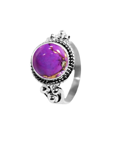 Divya 10mm Purple Copper Turquoise 925 Sterling Silver Ring
