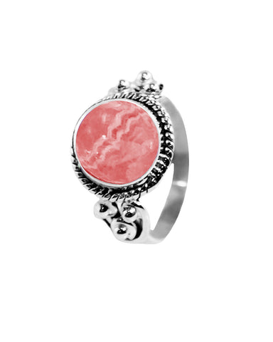 Divya 10mm Cushion Cut Pink Rhodochrosite 925 Sterling Silver Ring