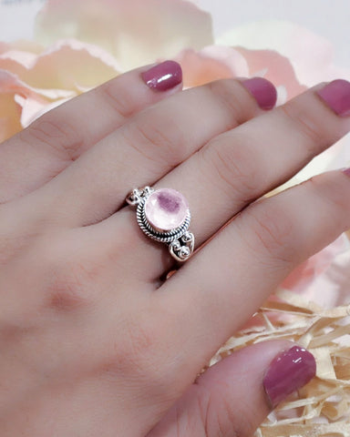 Divya Round Cushion Cut Rose Quartz 925 Sterling Silver Ring